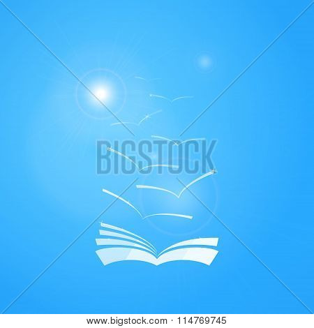 Vector book in blue sky with seagulls and sun. Learning and knowledge concept