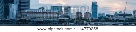 SINGAPORE - 19 May, 2014: Marina Bay central business district in Singapore. Late evening panorama