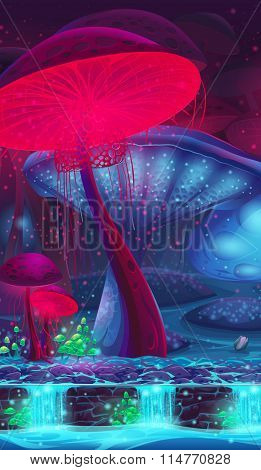 Magic Mushroom Hollow - Mystical Vertical Vector Background