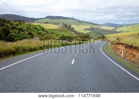 Scenic winding road in New Zealand