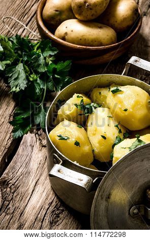 Boiled Potatoes With Herbs On Wooden Table .