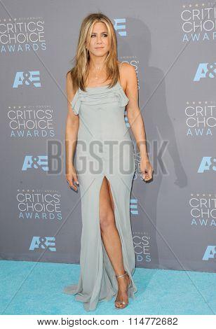 Jennifer Aniston at the 21st Annual Critics' Choice Awards held at the Barker Hangar in Santa Monica, USA on January 17, 2016.