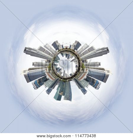 Overpopulated Tiny little planet with skyscrapers on core and ohter world under it.