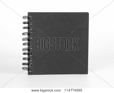 Spiral Notebook With Black Cover On White.