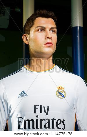 Bangkok, Thailand - December 19: A Waxwork Of Cristiano Ronaldo On Display At Madame Tussauds On Dec