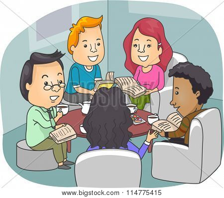 Illustration of Book Club Members Discussing Novels While Drinking Coffee