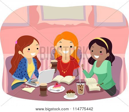Stickman Illustration of a Group of Teenage Girls Studying at a Cafe