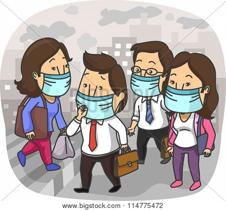 Illustration of the Residents of a Polluted City Wearing Surgical Masks