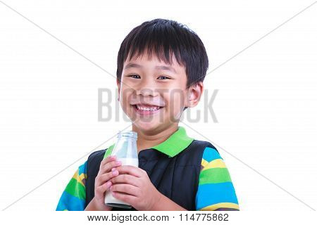 Close Up Boy Smiling And Sholding Bottle Of Milk, Isolated On White.