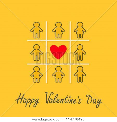 Happy Valentines Day. Love Card. Man Woman Contour Line Icon Tic Tac Toe Game. Red Heart Sign Yellow
