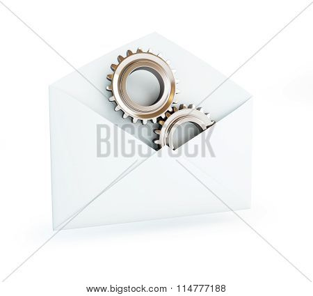 Metal Gears In The Mail Envelope
