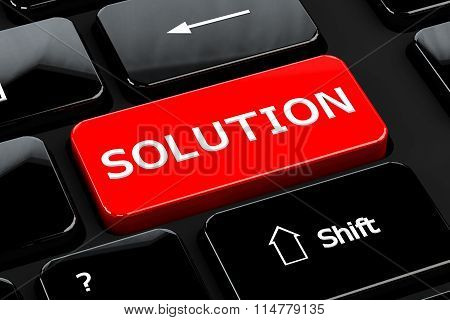 Solution On Computer Keyboard Background