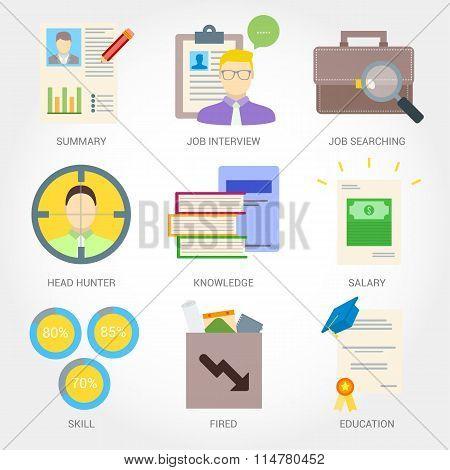 Job searching flat design icon