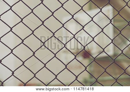Close Up Net With Blur Basketball Hoop Vintage Style
