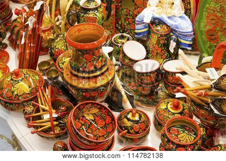 Moscow, Russia - January 10 2015. Wooden items with Khokhloma painting, original works in  gift shop
