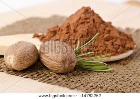 Nutmegs With A Sprig Of Rosemary And Cacao Powder In The Wooden Spoon On Sacking Base