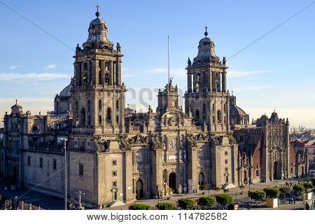 View Of Zocalo Square And Cathedral In Mexico City
