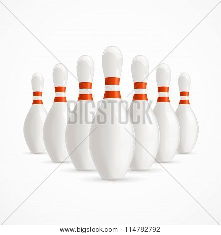 Group of White Bowling Pins. Vector