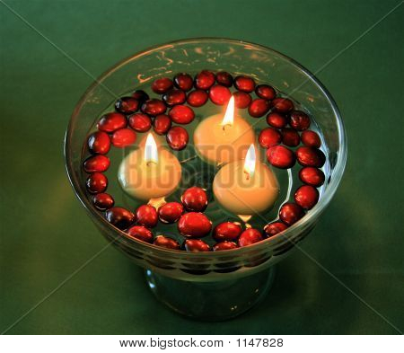 Floating Candles And Cranberries