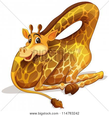 Cute giraffe folding its neck illustration