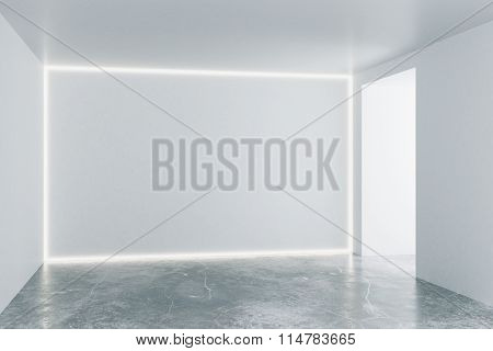 Empty Loft Room With White Walls And Concrete Floor