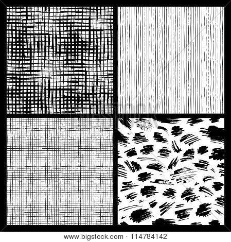 Seamless Patterns Of Hand-drawn Brush Strokes.