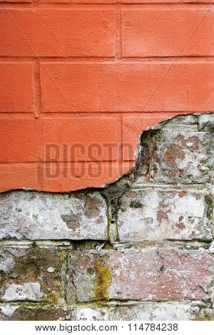 Red Broken Brick Wall Close Up