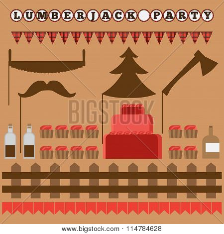 Set of vintage Lumberjack party elements, trendy Hipster Buffalo Check ,Tartan and Gingham Party Ide