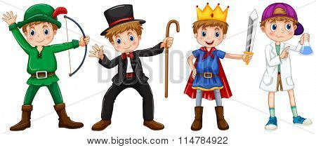 Boys in different costumes illustration