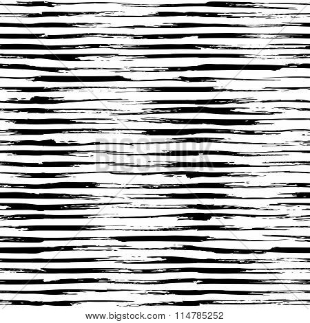 Vector Seamless Pattern Of Horizontal Brush Strokes.