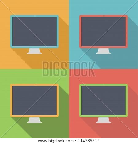 Monitor Icons Set In The Style Flat Design On The Background Different Colors. Stock Vector Illustra