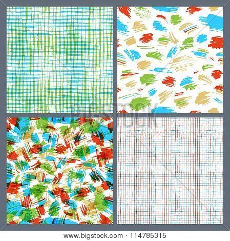 Set Of Hand-drawn Seamless Brush Strokes Patterns.