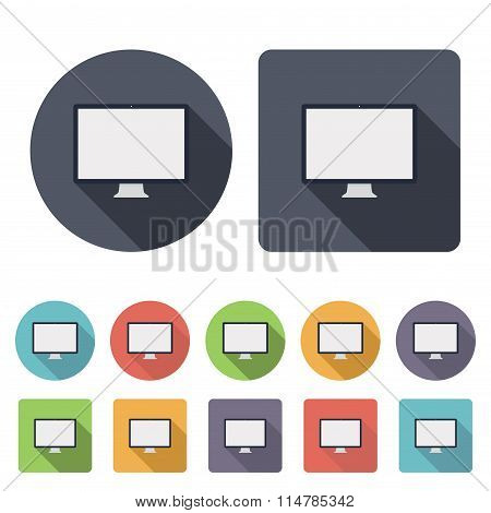Monitor Icons Set In The Style Flat Design On The White Background. Stock Vector Illustration Eps10