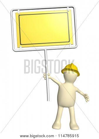 3d puppet-builder with emergency sign. Isolated on white background