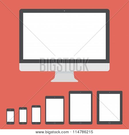 Gadget And Device Icons Set In The Style Flat Design On The Red Background. Stock Vector Illustratio