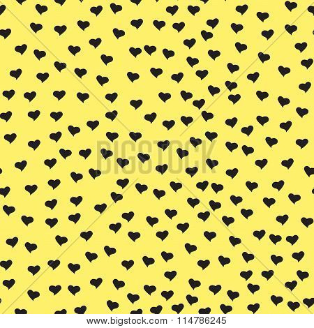 Seamless Pattern With Tiny Black Hearts. Abstract Repeating. Cute Backdrop. Yellow Background.