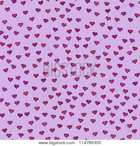 Seamless Pattern With Tiny Colorful Hearts. Abstract Repeating. Cute Backdrop. Purple Background.