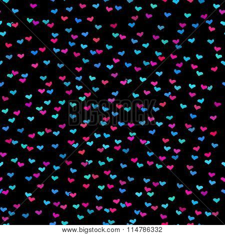 Black Seamless Pattern With Tiny Colorful Hearts. Abstract Repeating. Cute Backdrop. Dark Background