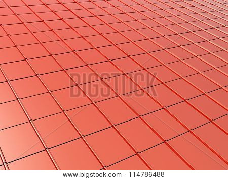 3d metallic roof tiles of red color