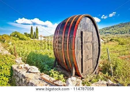 Wooden Barrel On Hvar Plains Landscape