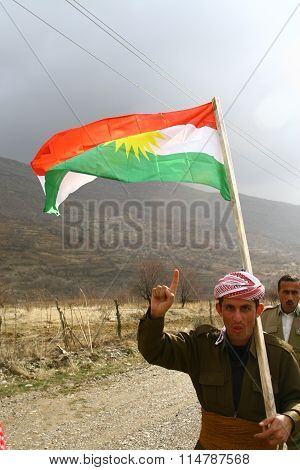 Kurdish Soldier in North Iraq