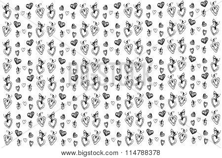 Vector Sketch Of The Background And Beautiful Holiday Hearts