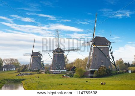 Windmills and water canal, Netherlands
