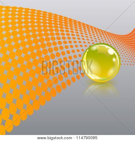 Abstract background with gold glass ball