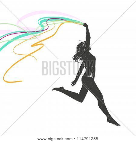 Running Girl Holds A Ribbon Over His Head. Girl Athlete.