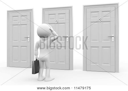 Man in front of three doors, doubtful