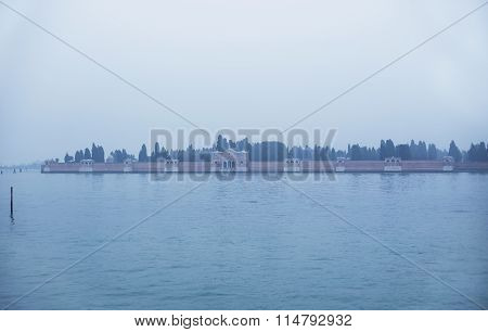 Fog View Of San Michele Island In Venice