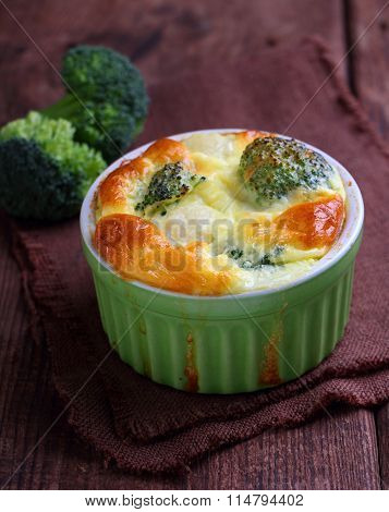 Baked Broccoli Souffle In A Green Dish