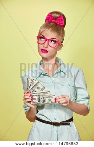 Beauty fashion. Money, business woman with dollar