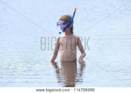 Boy Getting Ready To Snorkel